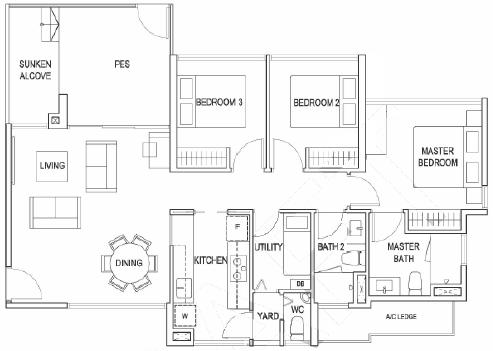 Lush Acres Floor Plans :: 3 Bedroom